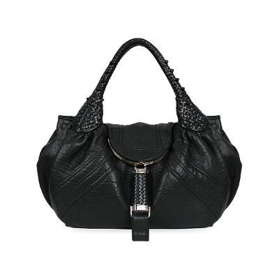 flapped tote bag black